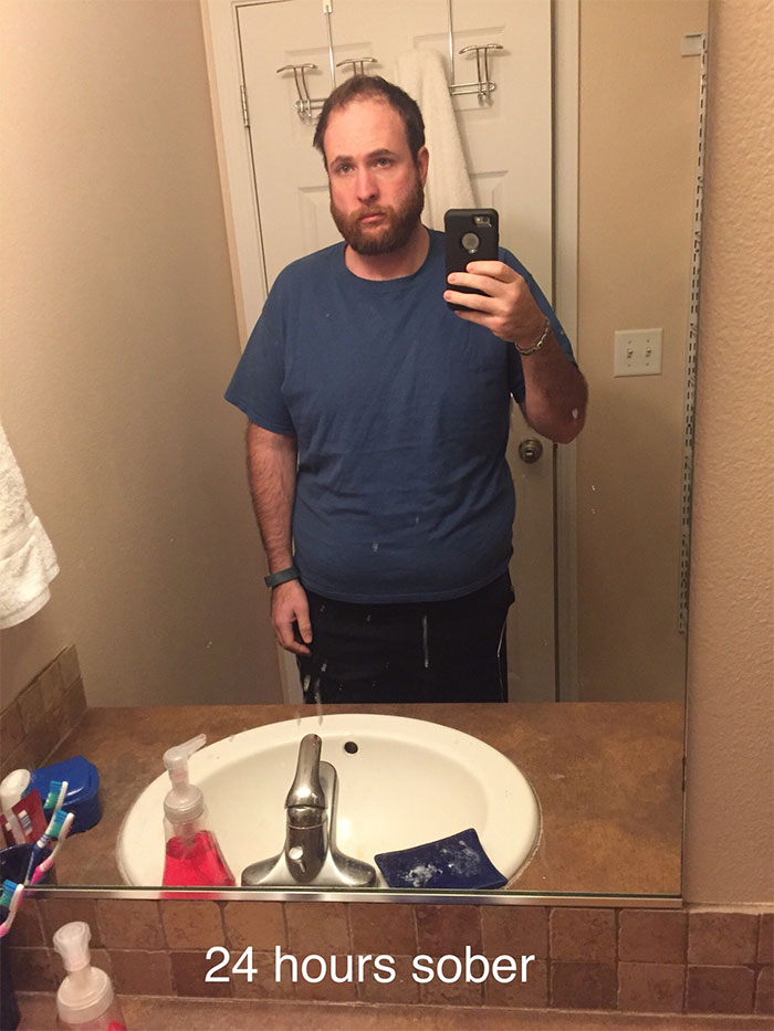 9 selfies that show just how much this man was transformed by 3 years off alcohol