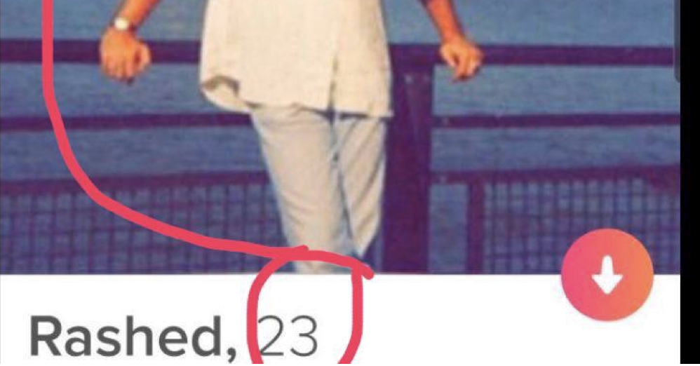 Theres a schoolboy error in this guys Tinder profile