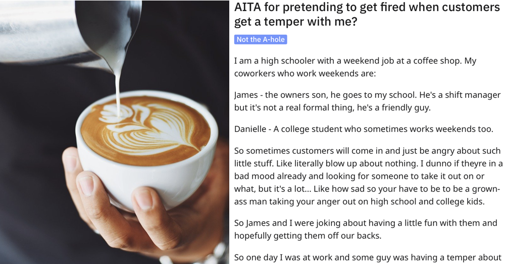 This coffee shop worker pretends to get fired every time a customer makes a petty complaint and people love it