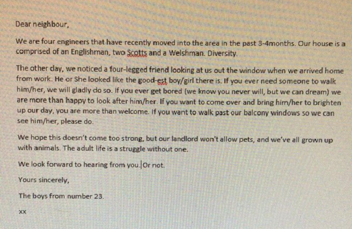 Some housemates messaged a neighbour about their dog and the joyous reply went viral
