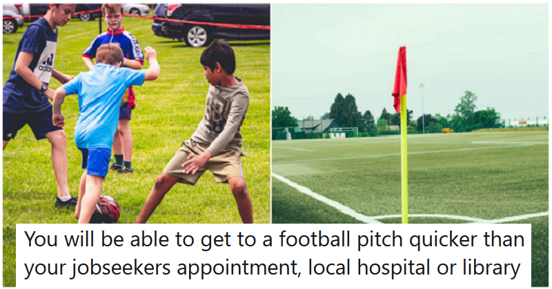 5 straight red cards for the Tories' ironic football pitch policy