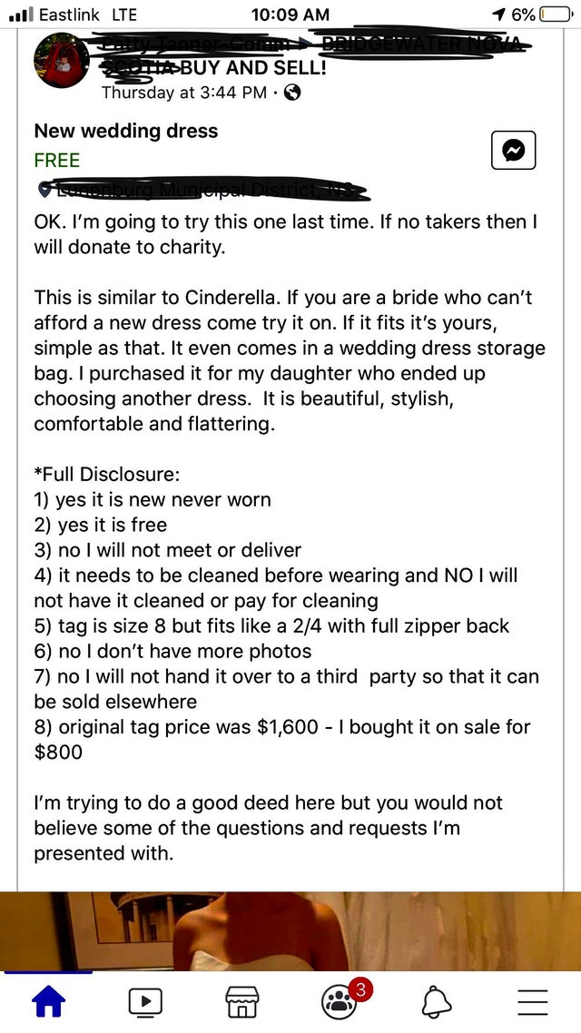 This woman trying to give away a wedding dress was so fed up with people's outrageous demands that she did this