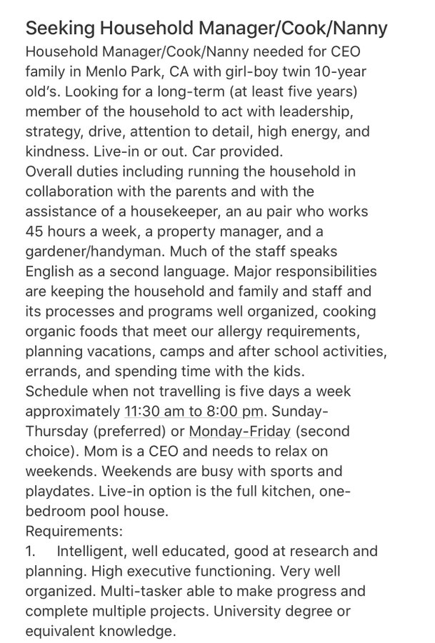 This job description for a live-in nanny and 'household manager' went viral because it's totally bonkers