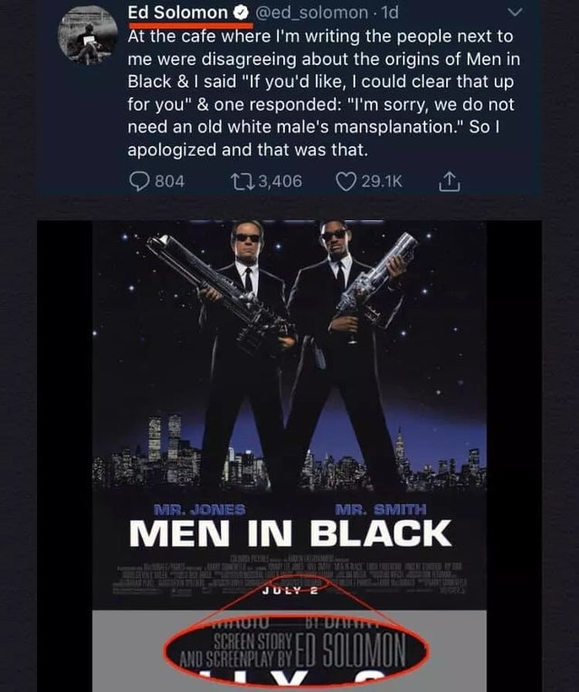 The moment Men in Black writer Ed Solomon was accused of 'mansplaining' his own film is out of this world