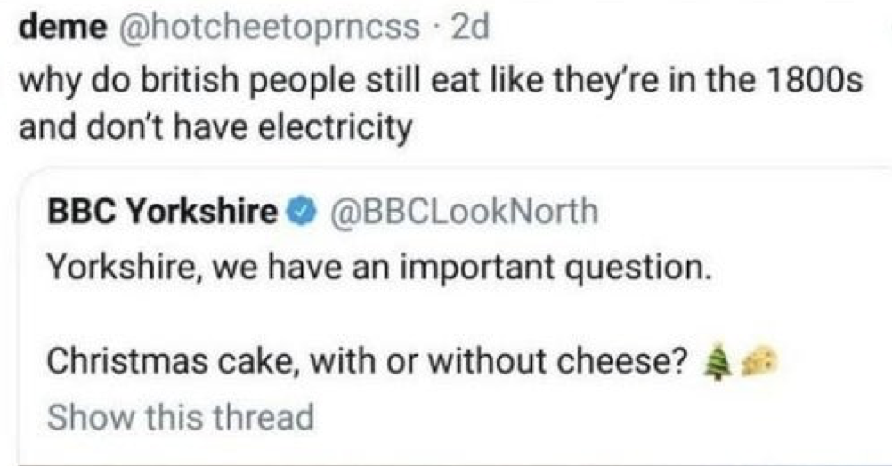 The takedown of this American slagging off British food was simply delicious