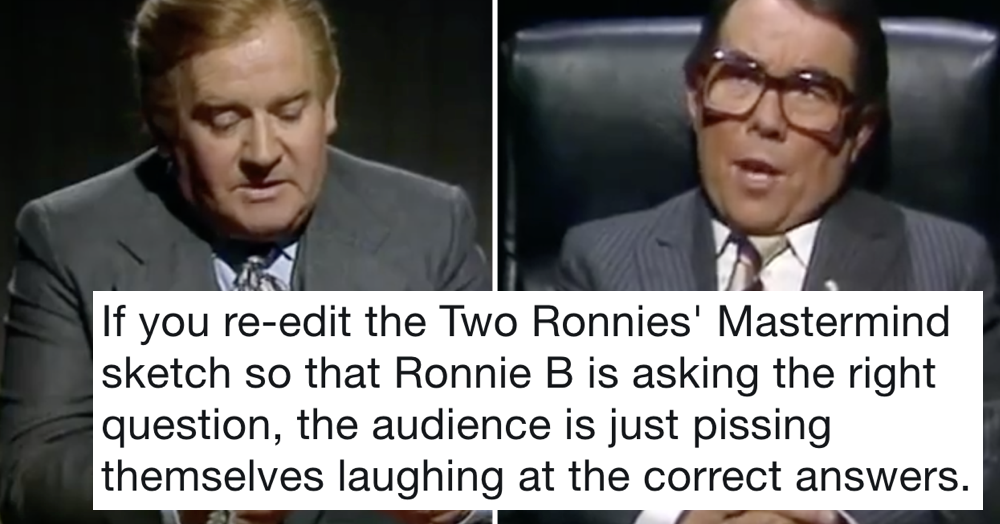 That fabulous Two Ronnies' Mastermind sketch but re-edited so he's giving the right answers - the poke