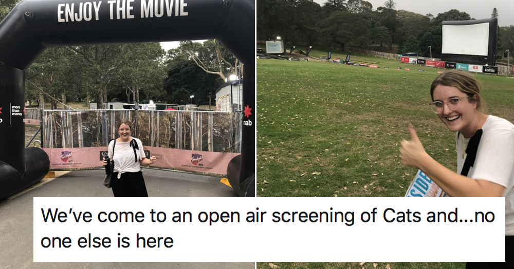 This thread by a woman who found herself all alone at an open-air screening of Cats is a fab read - the poke