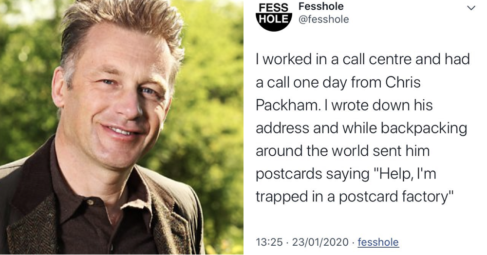 People love Chris Packham after he took time out to respond to this unlikely confession - the poke