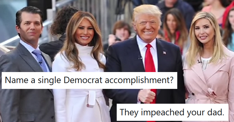 Donald Trump Jr asked what Democrats have accomplished and was swamped with impeachment tweets