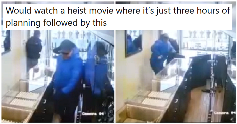 This incredible CCTV of a jewellery shop robbery is the best slapstick you'll see today - the poke