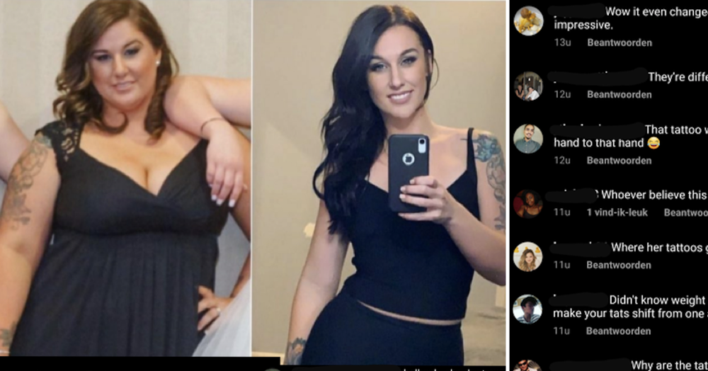 People said this woman's weight loss pics were faked because her tattoos switch sides and it wins facepalm of the week
