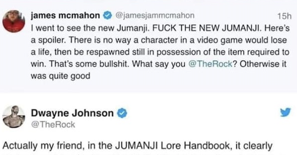 The Rock's takedown of this guy who didn't like Jumanji will always be a game-changer - the poke