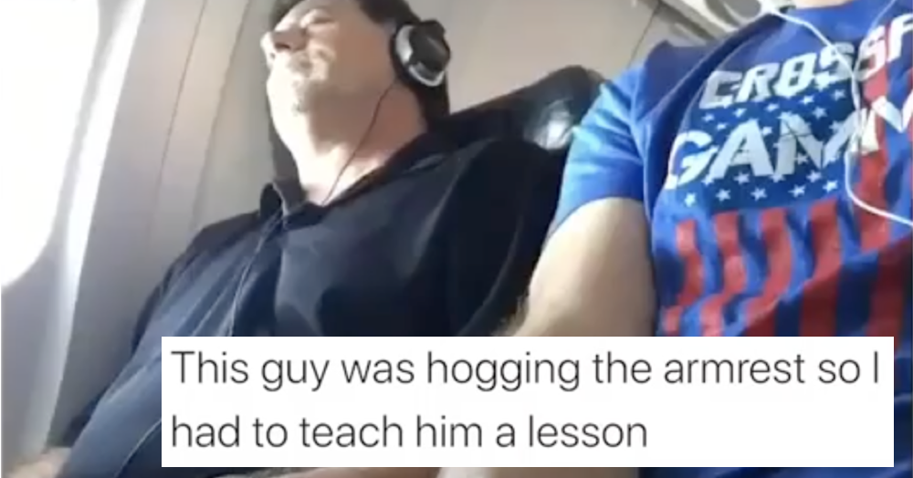 This guy did what we all want to do when someone's hogging the armrest on a plane - the poke