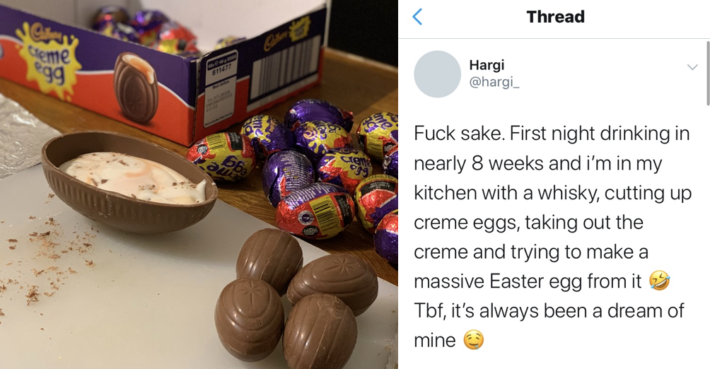 This man's joyful attempt to make a giant Cadbury's Creme Egg went viral because people loved it so much