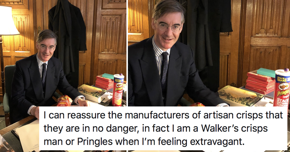 7 favourite things people said about this picture of Jacob Rees-Moog and his 'favourite crisps' - the poke
