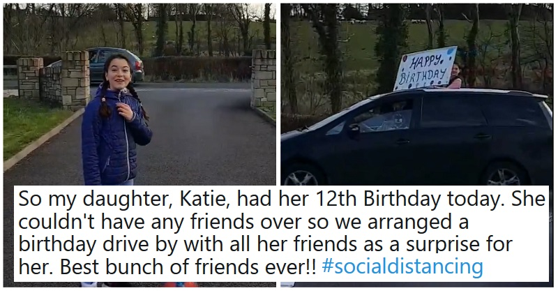 This might be the world's first drive-by birthday celebration – it's a wonderful change from the gloom - the poke