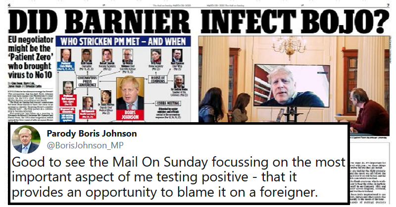 The only 5 reactions you need to the Mail trying to pin the PM's virus on Michel Barnier - the poke