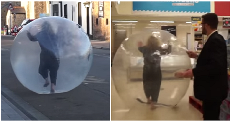 This woman went shopping inside a zorb – now that's what we call extreme social distancing - the poke