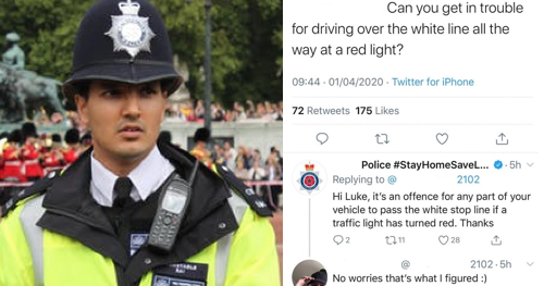 This police query about stopping at traffic lights took an unexpected turn - the poke