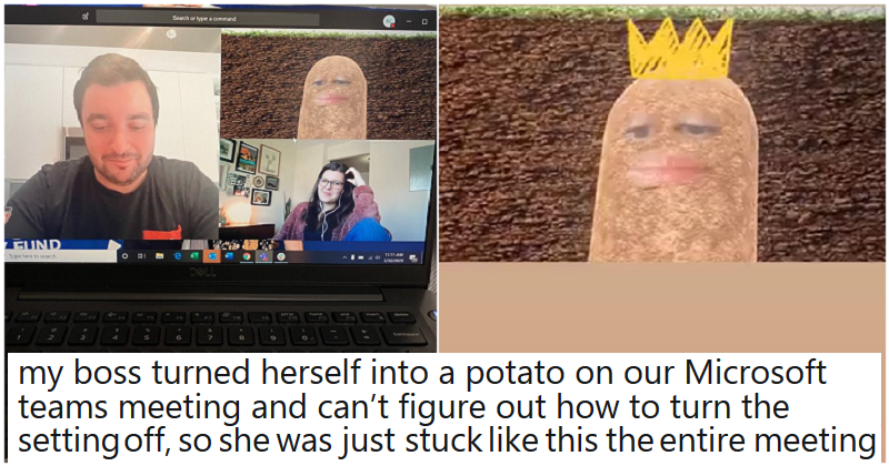 A boss got roasted after conducting an online meeting with a comedy potato filter