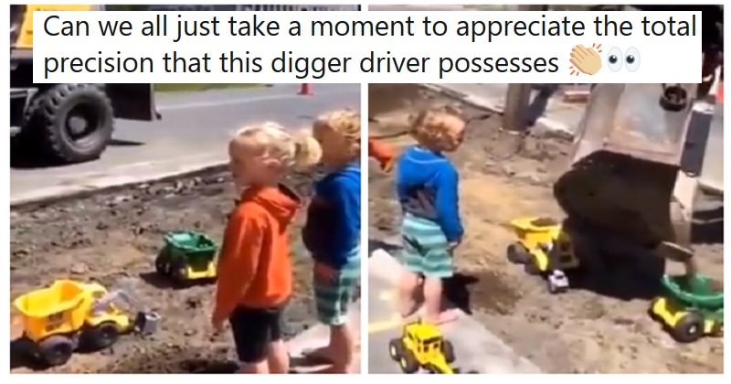 This digger driver made the day of a couple of kids with his next-level skills
