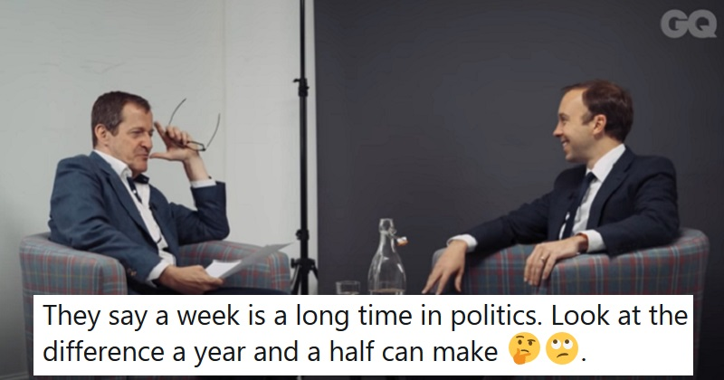 This 2018 interview with Matt Hancock shows what he really thinks of Boris Johnson