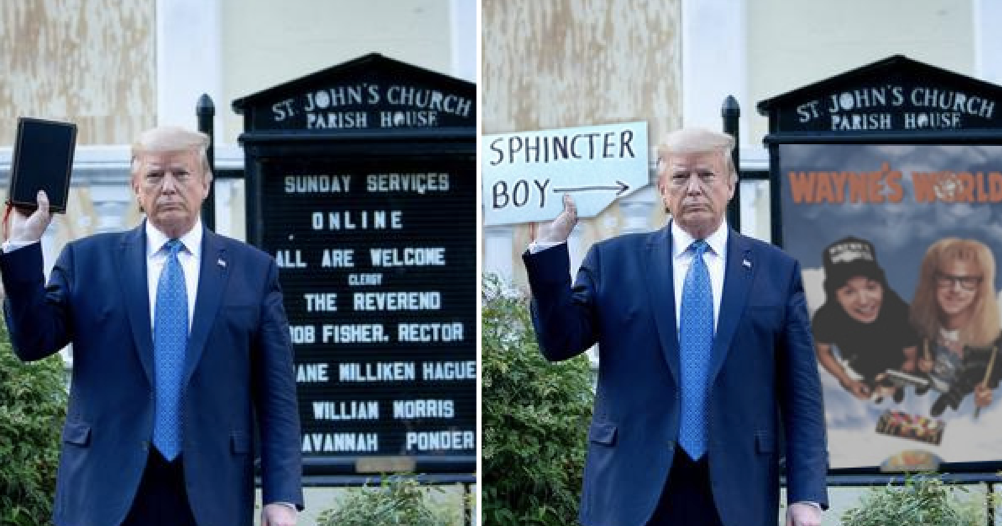 Simply 17 funny photoshops of Donald Trump holding a Bible outside church