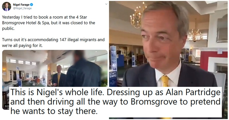 The 8 funniest reactions to Nigel Farage's Partridge-esque video report on asylum seekers