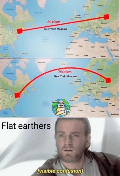 It's not just flat-earthers whose brains were short-circuiting at this meme