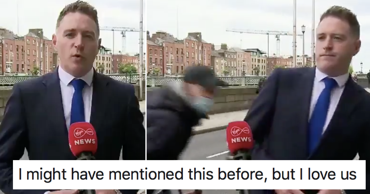 This Irish TV news interruption was perfect comic timing - the poke