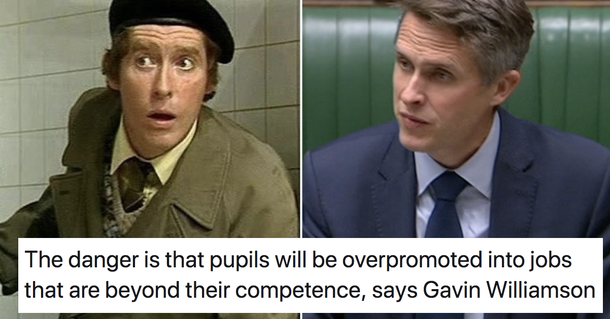 Gavin Williamson warned about people being promoted beyond their competence and everyone made the same joke