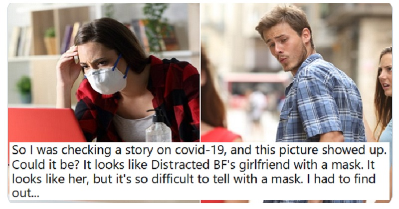 Someone used stock photos to tell Distracted Boyfriend woman's lockdown story – and it's just glorious - the poke