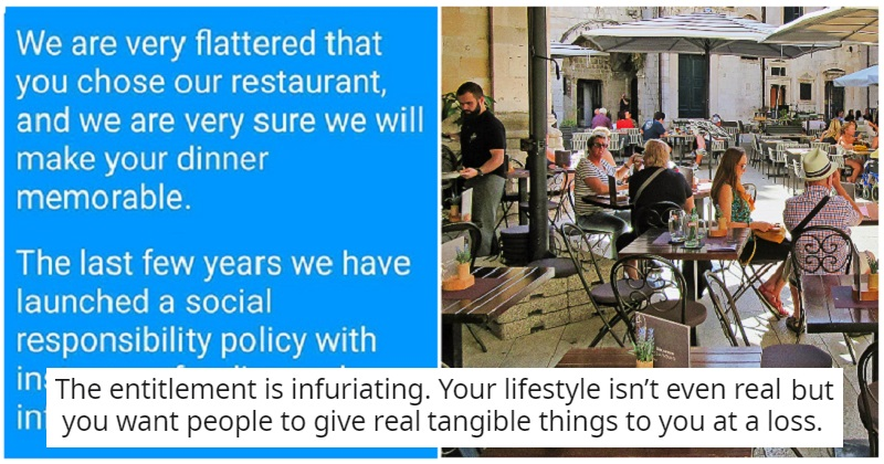 "A restaurant in Greece has come up with the perfect way of dealing with scrounging ""influencers"" - the poke"