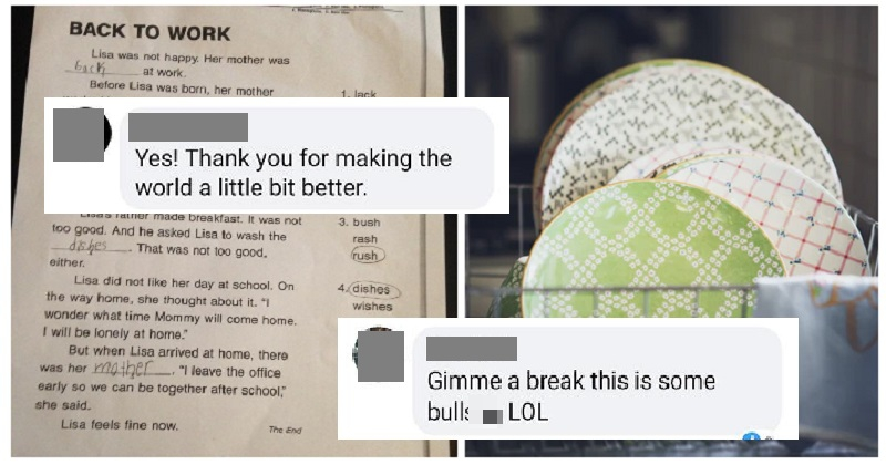 A mum changed her daughter's sexist homework sheet and some people* weren't happy *men