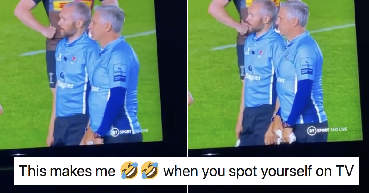 This referee's response when he saw himself on the big screen is surely all of us - the poke