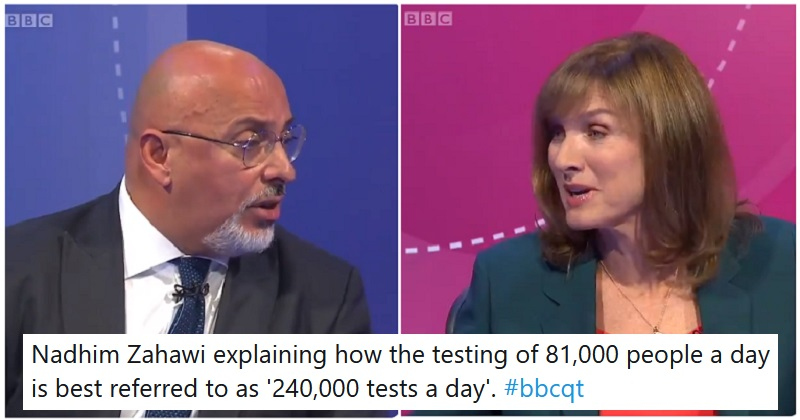 Fiona Bruce demolished this Tory MP's inflated testing figures – the only 5 reactions you need