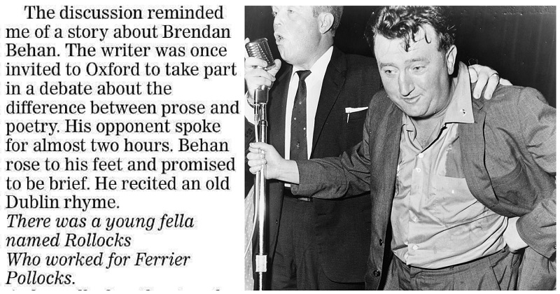 Brendan Behan gave the best possible explanation of the difference between prose and poetry – NSFW - the poke