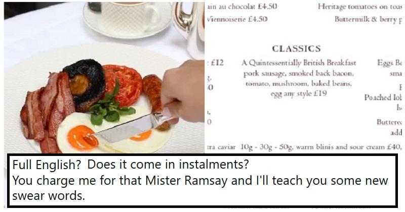 Gordon Ramsay's full English breakfast left a bad taste – our 16 favourite responses