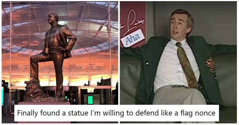 An 11ft statue of Alan Partridge has been erected in Norwich – Aha! - the poke