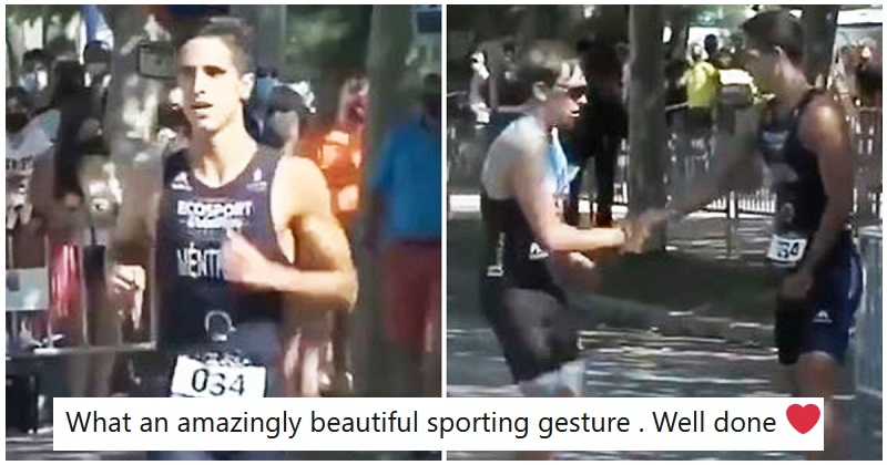 This triathlete has gone viral because of an act of pure sportsmanship - the poke