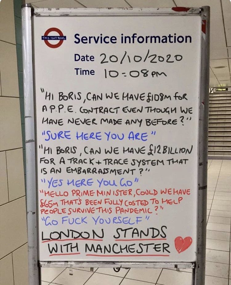 This Tube 'update board' nails what people think about Manchester and Boris Johnson right now