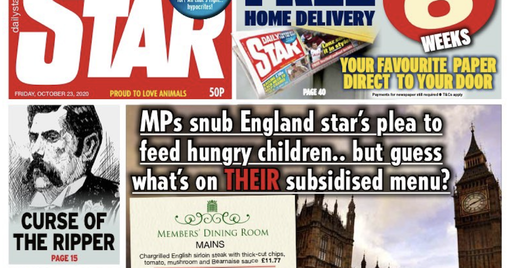 The Daily Star's takedown of subsidised MPs over free kids' meals had people cheering - the poke