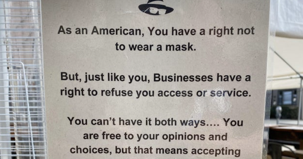 This shop's takedown of covidiots who refuse to wear a mask is simply perfect