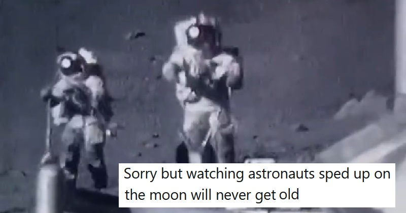 Sped-up footage of astronauts on the Moon has gone viral again because it's still hilarious