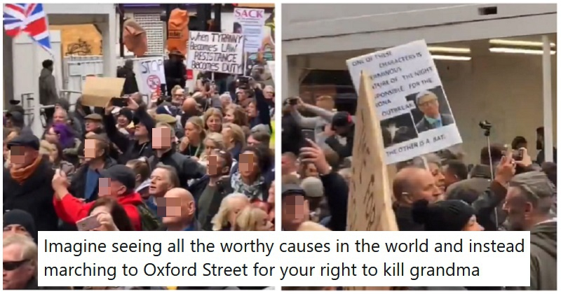 Anti-maskers crammed into Oxford Street and these 9 takedowns also came thick and fast