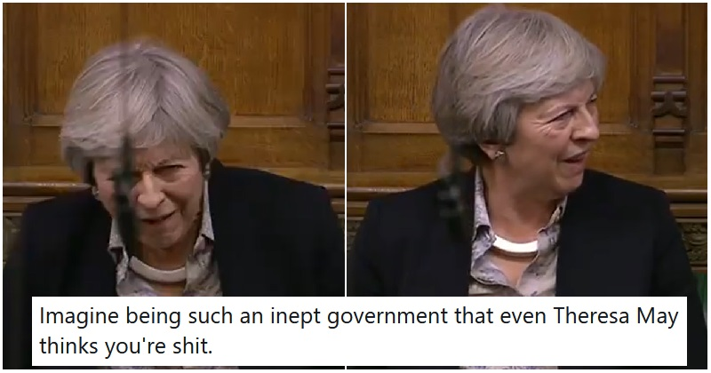 Theresa May's face as she listened to Michael Gove's Brexit BS was all of us - the poke