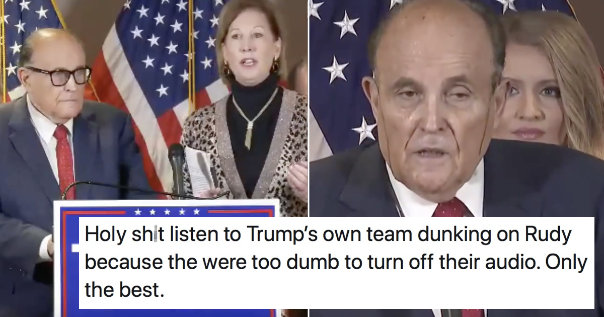 Even Donald Trump's own YouTube stream mocked Rudy Guiliani's hilarious hair malfunction
