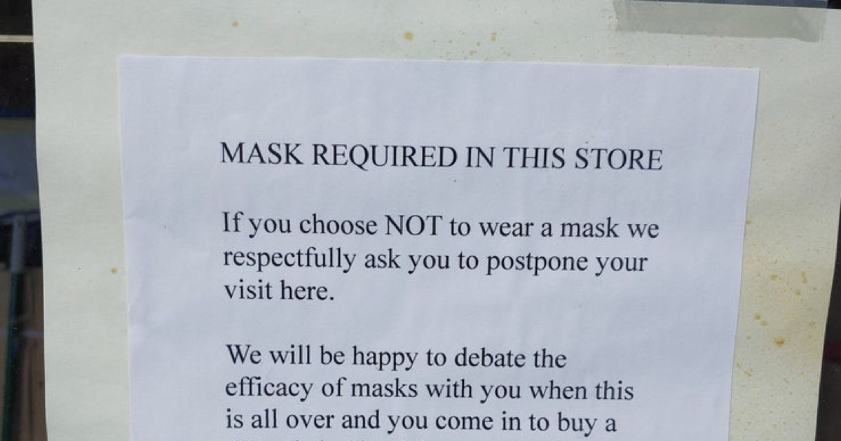 This shop had a message for anti-masker covidiots and it's absolutely savage