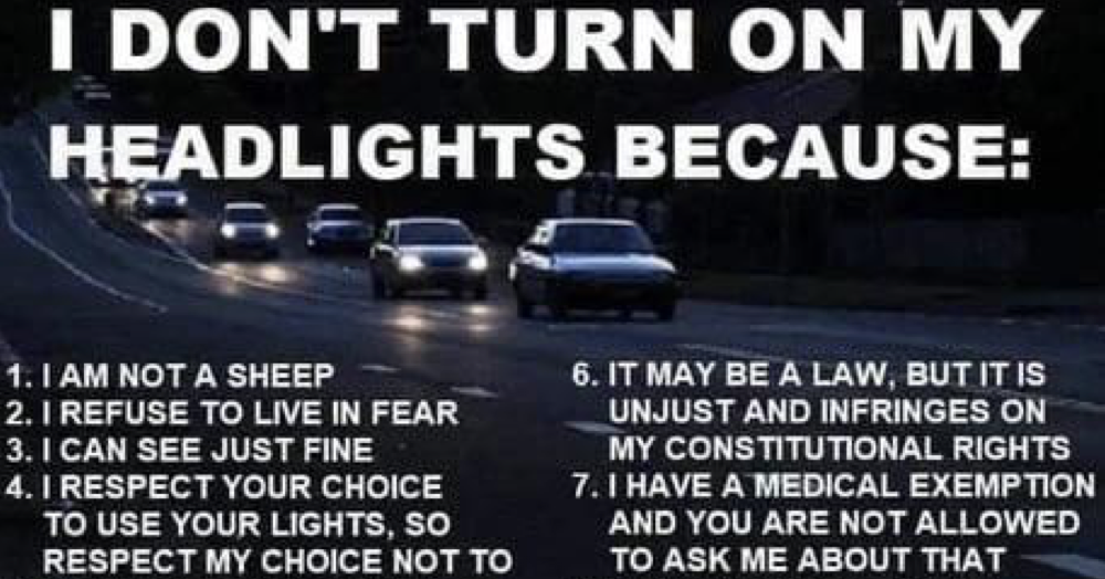 'I don't turn on my headlights because …' is the perfect riposte to covidiot anti-maskers - the poke