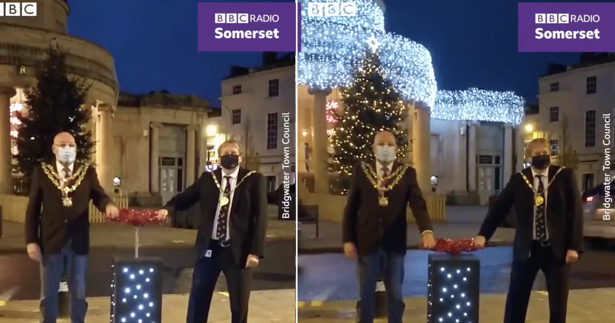 'Thank you comedy gods!' This unfortunately timed Christmas lights switch-on is an early festive treat - the poke